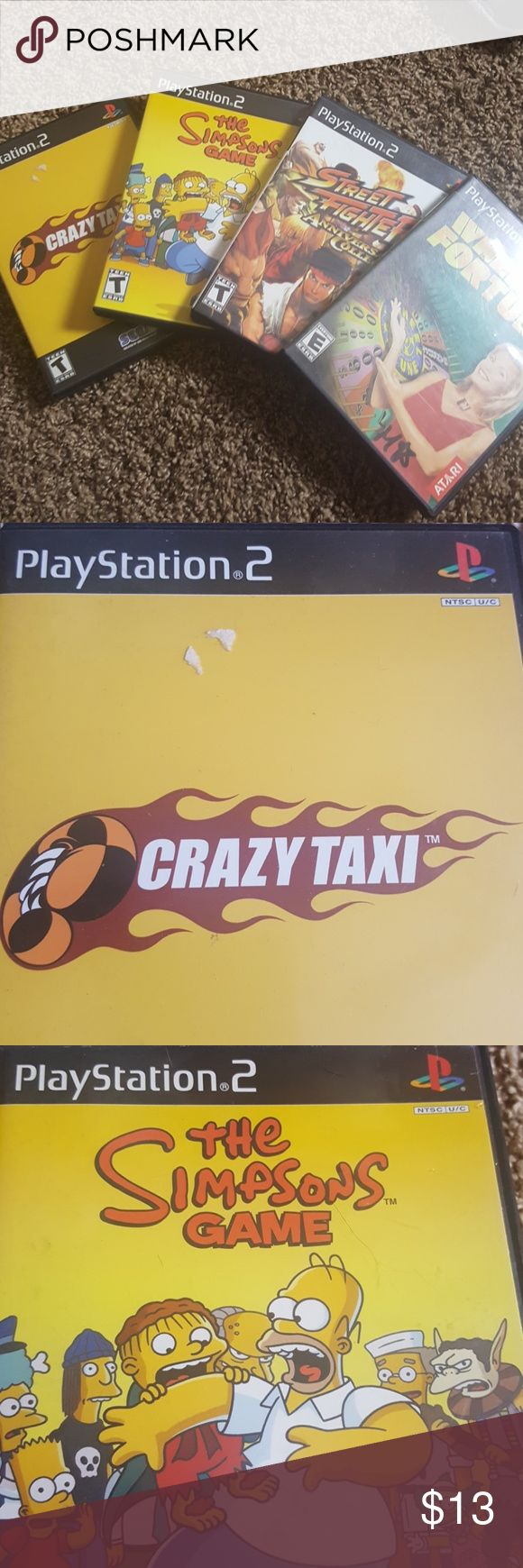 4 playstation 2 games Crazy Taxi, street fighter anniversary collection, the simpsons game and wheel of fortune Accessories