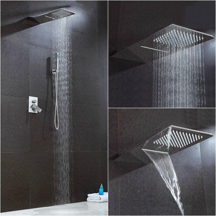 Cromo Design Doccia Set da incasso Colonna Soffione Pioggia Bagno Barra Cascata | eBay