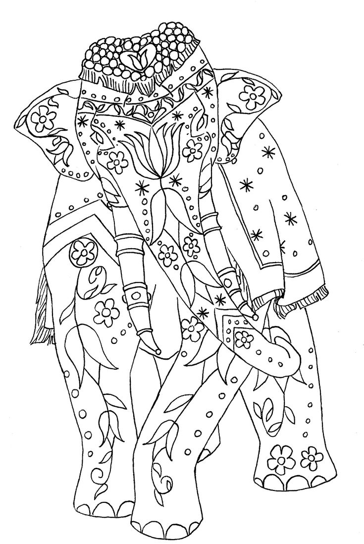 Happy summer holidays coloring pages - Painted Elephant Adult Coloring Pagescoloring