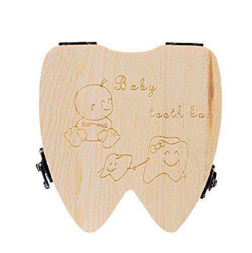 nice Sannysis Caja de almacenamiento de madera para Dientes de leche