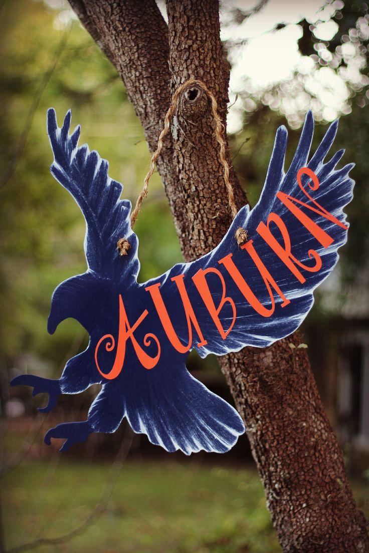 Wooden Auburn Eagle door hanger