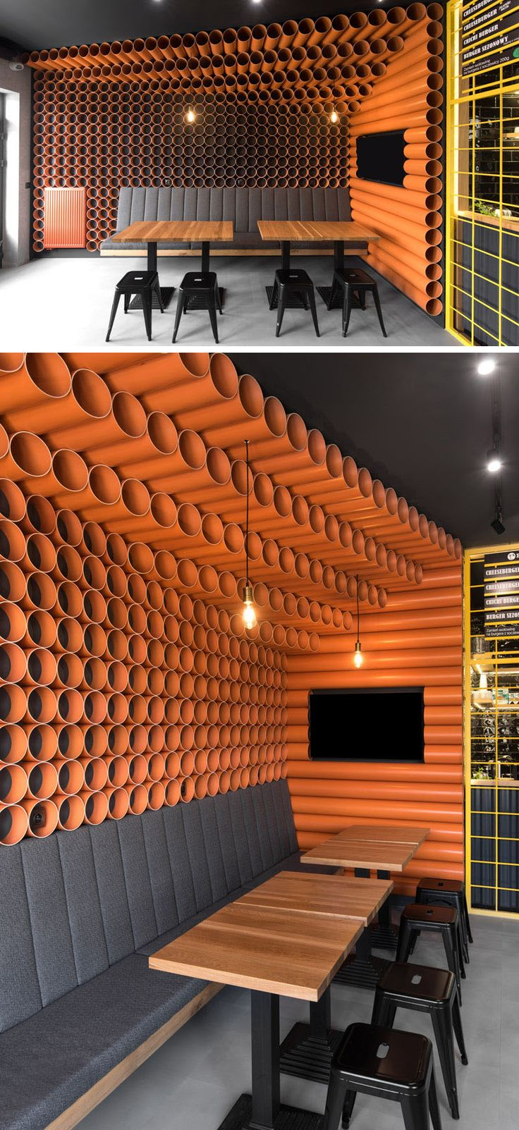 Almost 300 Orange PVC Pipes Cover The Walls Of This Burger Restaurant