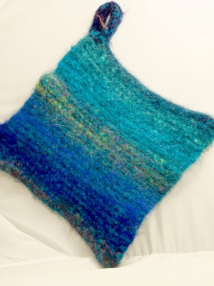 Tropical Storm Wool Felted Hot Pad/Trivet, Hand Knitted, Kitchen Decor, Housewares, Hostess Gifts, Insulator, Potholder, Knitted Goods by timetalentjewels on Etsy