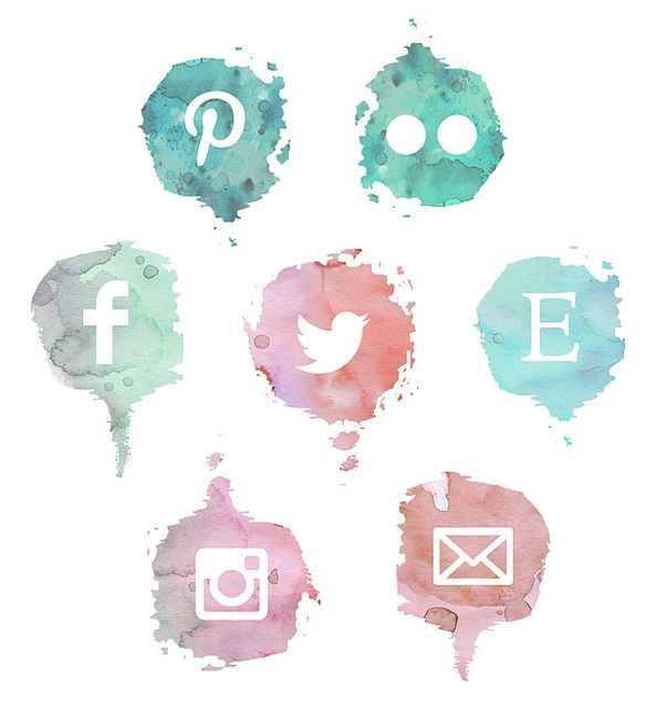 Freebies: watercolor social media icons - buttons created by Katarina Roccella of Like flowers and butterflies