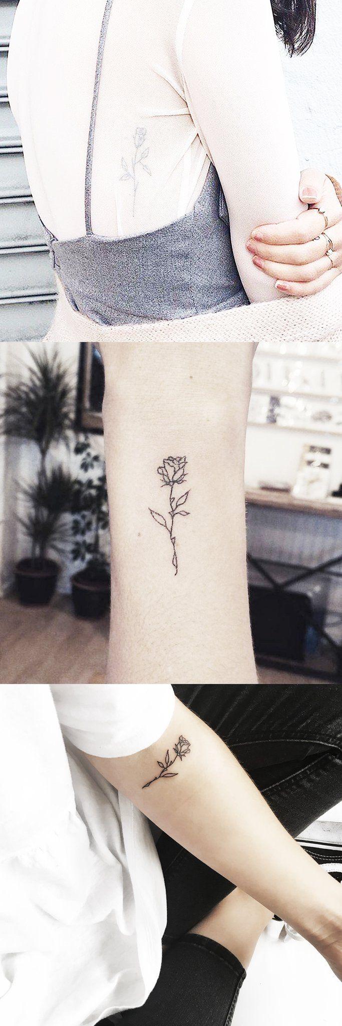 Small Cute Full Rose Wrist Tattoo Ideas - Simple Floral Rib Tatt - Minimal Forearm Flower Tat - MyBodiArt.com