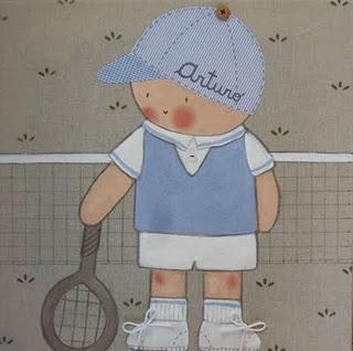 Cuadro infantil personalizado. Tennis Arturo