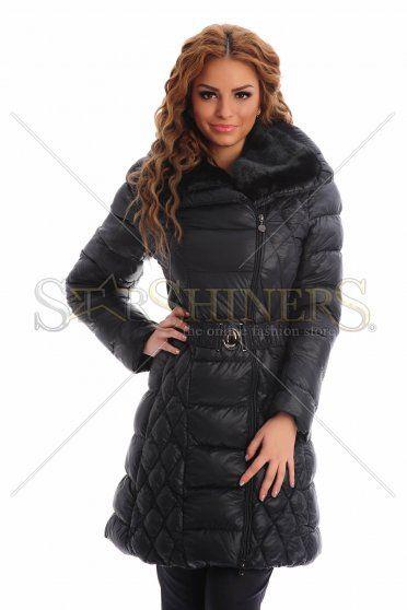Furry Neck DarkBlue Jacket