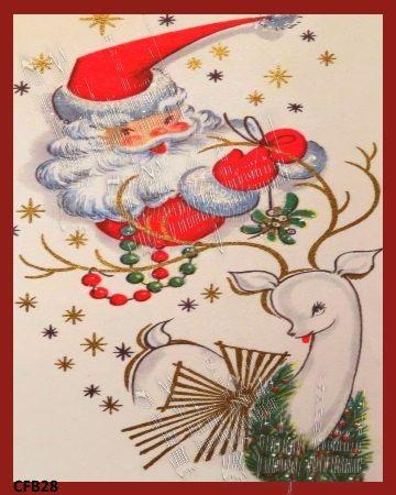 Vintage Santa Fabric Blcck Greeting Card by MermaidFabricBlocks