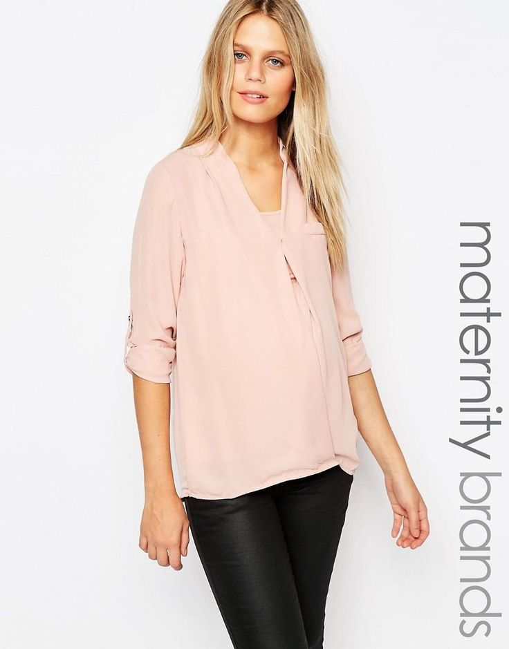 Mama.licious | Mamalicious Nursing Wrap Front Woven Top at ASOS