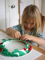 Make a christmas wreath Paper Plate (middle cut out) Green Tissue paper strips  Red Tissue paper strips  Glue