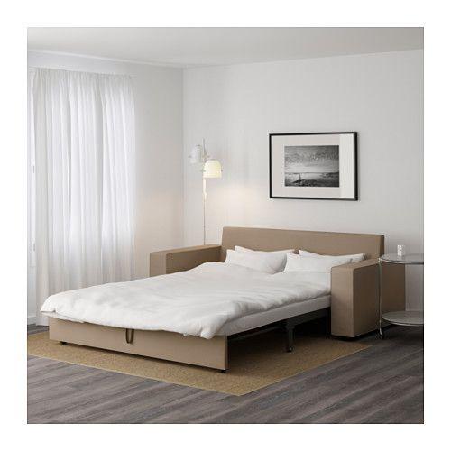 VILASUND Three-seat sofa-bed - Dansbo beige, - - IKEA