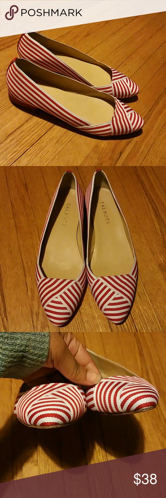 Talbots Red & White Edison Flats Size 7M Striped flats in great used condition with minimal signs of wear to the soles. No dirt or stains on uppers.   NO TRADES.  NO PAYPAL. Talbots Shoes Flats & Loafers