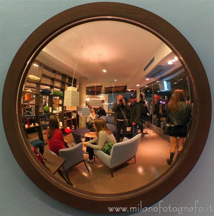 Milan, Italy - Concave mirror at Milan Design Week 2017