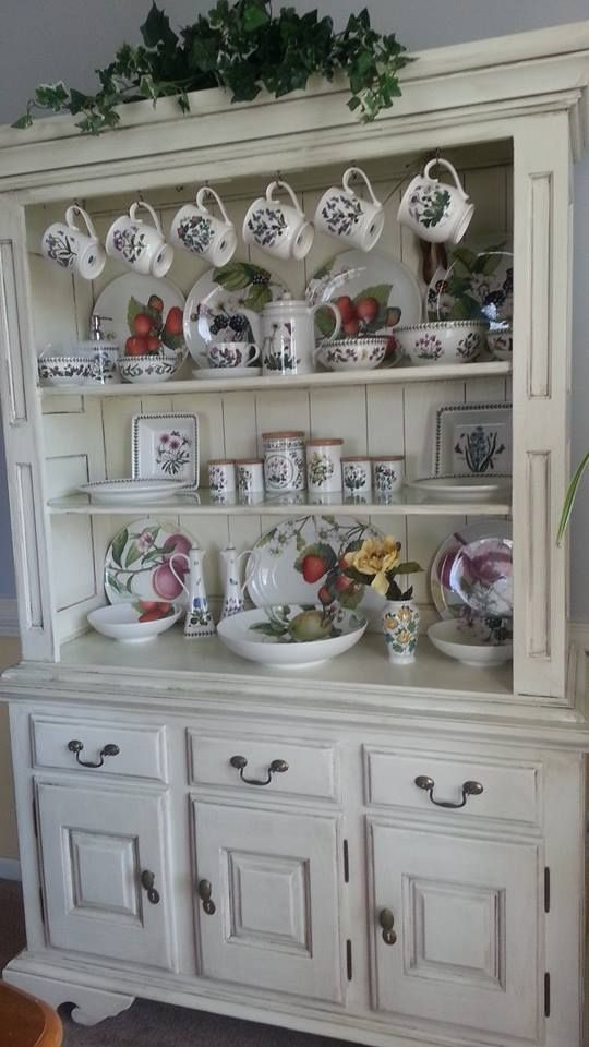 My hutch that I refinished in a French Country look Shabby Chic. I displayed all of my Welsh Portmerion dishes.