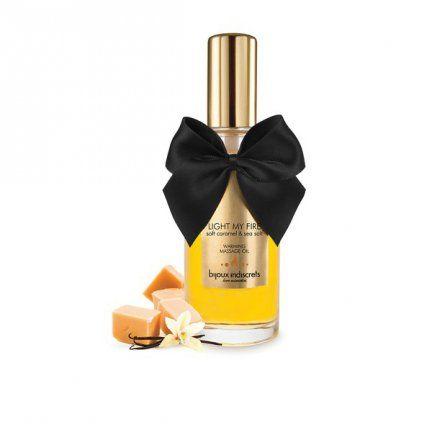 """LIGHT MY FIRE - Soft Caramel Warming Oil  Soft Caramel Warming Oil z seriii """"Light My Fire"""" od Bijoux Indiscrets to wysokiej jakości intymny żel z efektem rozgrzewającym o słodkim smaku i zapachu karmelu.     Bijoux Cosmétiques zostały stworzone byś czuł/a się wspaniale. Dlatego właśnie dokładamy tyle uwagi w dobór naturalnych składników i aromatów, które pomagają zachować równowagę Twojej skóry."""