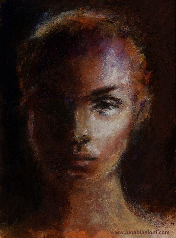 Dark And Light Mixed Media Portrait By Juna Biagioni