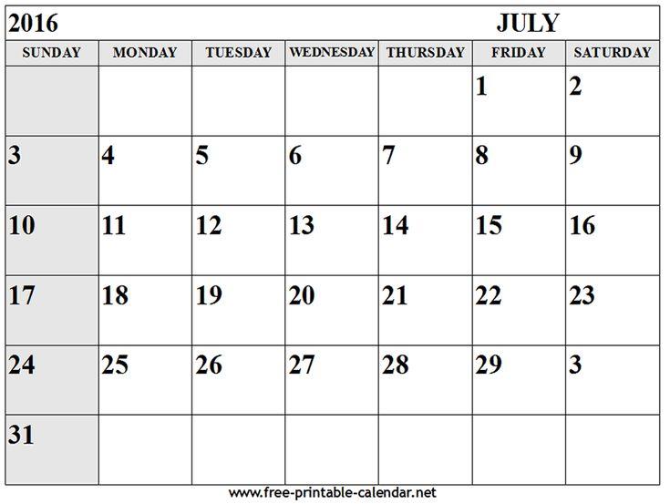July Calendar 2016 - Free printable calendar