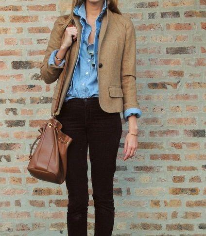 Denim button-up + tan blazer + black skinnies =  perfect.