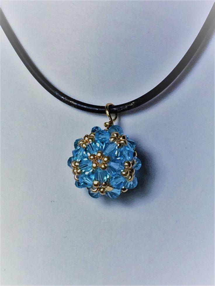 Zelkova Beads Hana-ami Ball Necklace swarovski light blue seed beads $30