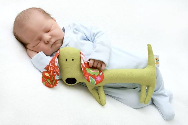 Cute first gift for baby this rattle sausage dog. Handmade, unique, soft.