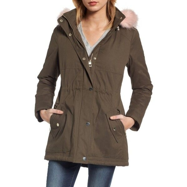 Women's Guess Parka With Removable Faux Fur Trim Hood ($168) ❤ liked on Polyvore featuring outerwear, coats, brown faux fur coat, toggle coat, brown parka, faux fur parka coat and pastel coats