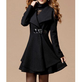 $32.51 Noble Style Worsted Turn-Down Collar Long Sleeves Solid Color Women's Coat