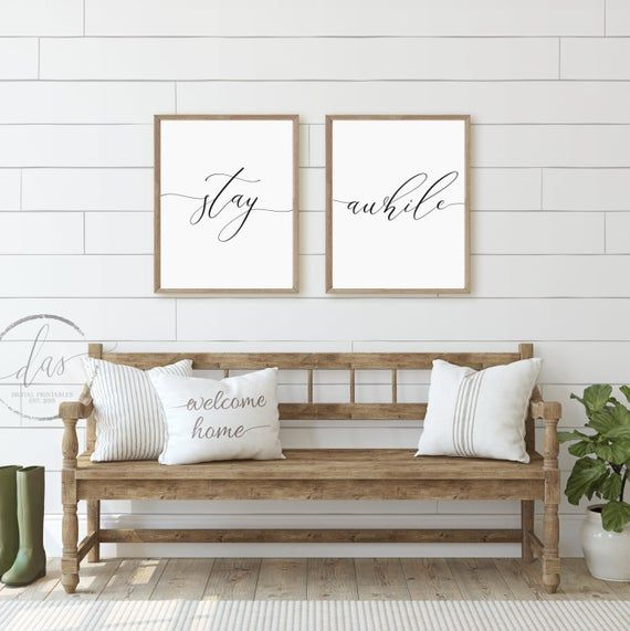 Stay Awhile Bedroom Printables, Living Room Quote Decor Prints, Above Couch Sign, Script Calligraphy