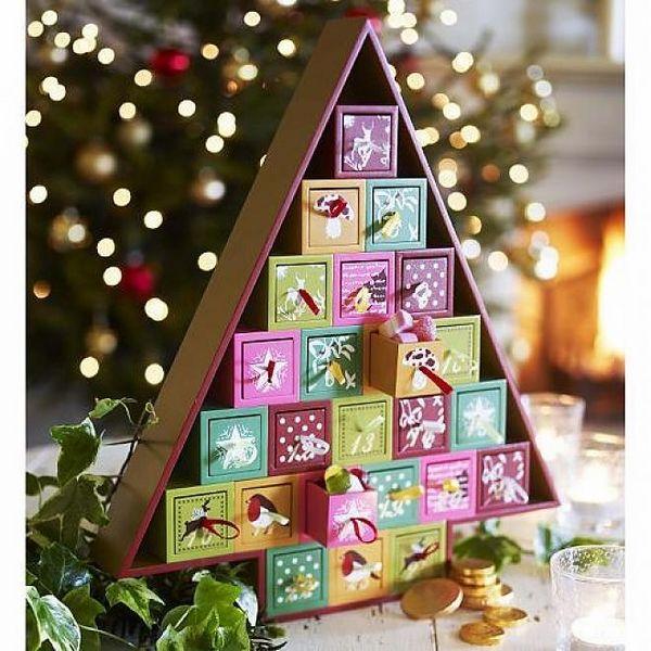 DIY wooden advent calendar christmas tree colorful boxes christmas decor ideas