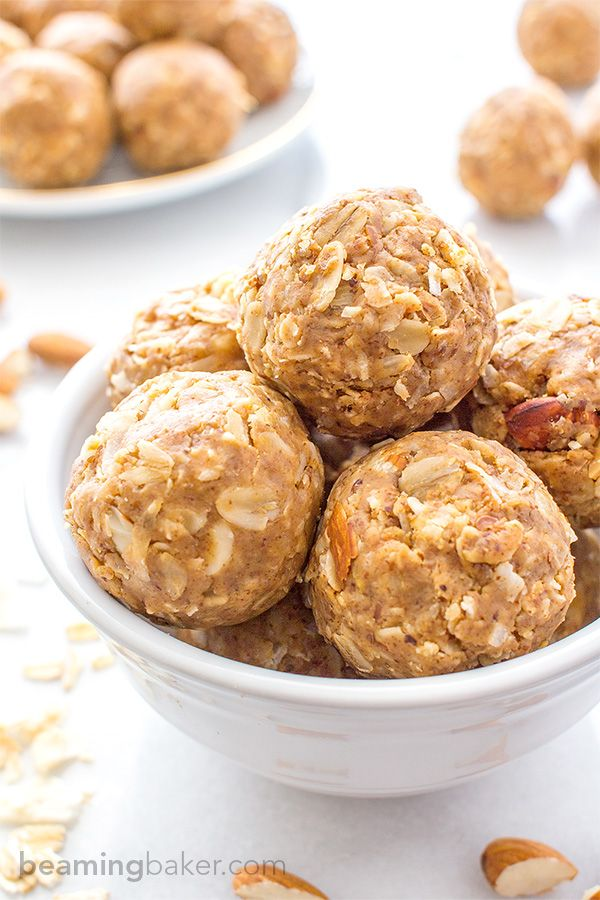 No Bake Almond Butter Coconut Bites (V+GF): Nutty, lightly sweet and satisfying…
