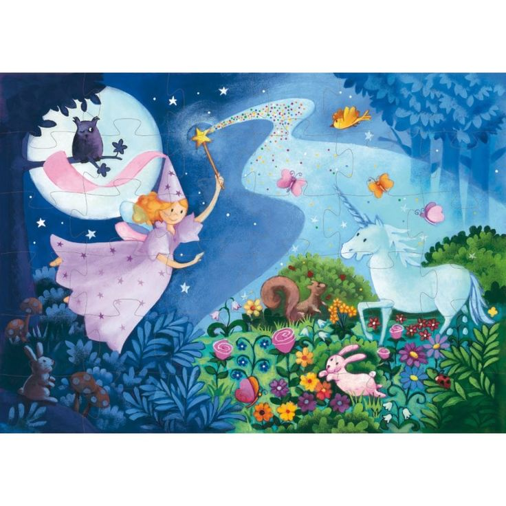 Nádherně ilustrované puzzle s vílou a jednorožcem. Nechte se unést do krásného světa fantazie. Složený obrázek má rozměry 42 x 30 cm a dílky jsou uloženy do tvarovaného kartónového obalu. Puzzle jsou vhodné pro děti od 4 let.