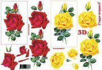 3D keltainen ja punainen ruusu - Paprus / Anntec Tmi