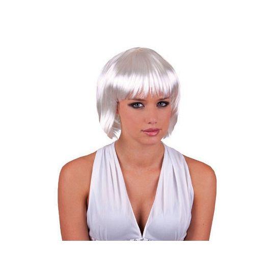 Witte damespruik kort haar  Sexy witte dames pruik met kort haar. Deze sexy damespruik met de haargrens net boven de schouder heeft witte haren en een pony.  EUR 10.95  Meer informatie