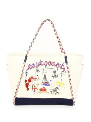 TORY BURCH Nautical Canvas East Coast Tote. #toryburch #bags #hand bags #canvas #pvc #tote #cotton #