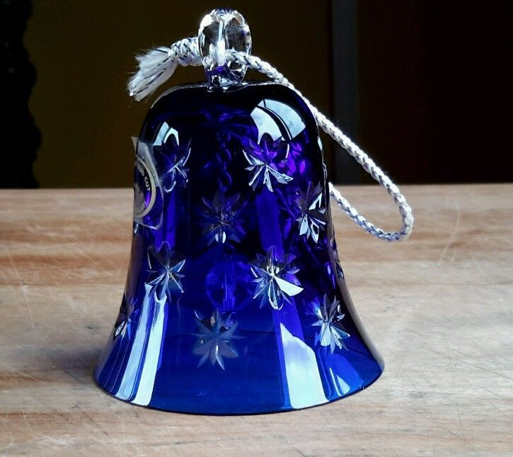 #Decorative #Hand-Cut #Crystal #Cobalt #Blue #Glass #Bell w/ #Stars #handmade in #Hungary