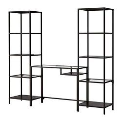 IKEA - VITTSJÖ, Shelf unit, black-brown/glass, , Tempered glass and metal are durable materials that provide an open, airy feel.A simple unit can be enough storage for a limited space or the foundation for a larger storage solution if your needs change.Adjustable feet for stability on uneven floors.You can select the look you like best because the top and bottom panels have one black-brown and one black side.