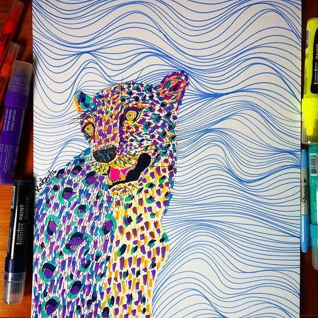 Tropical Jaguar -Markers - Bristol Paper - 33,5 x 43,1 cms #liquitex #liquitexmarker #sharpie #color #colors #tropical #jaguar #homedecor #katzferoz #linedrawing #illustration #ilustracion #animalillustration #laart #laartist #bogotart #losangelesartist #art #artpop #artwork #artgallery #art_spotlight #artcollective #arts_help #artstagram #artsharela #bogoartistascomparte #culturacolectiva #canson #liquitexpaintmarkers