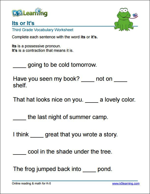 3rd grade it's or its worksheet Word problem worksheets