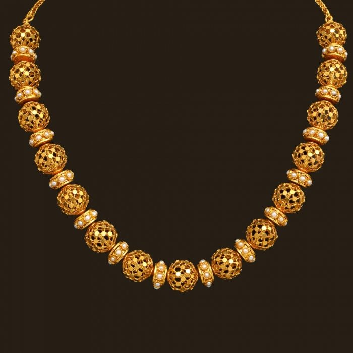 Gold Antique Short Necklace set (110A11499)   Vummidi Bangaru Jewellers