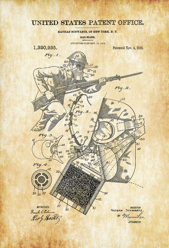 Military Gas Mask Patent - Patent Print Wall Decor Military Decor Mask Decor Steampunk Decor Gas Mask Blueprint by PatentsAsPrints