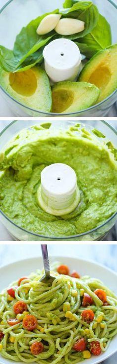 Les plus délicieuses recettes saines pour votre menu équilibré! avocat ail basilic mixés : sauce pour pâtes