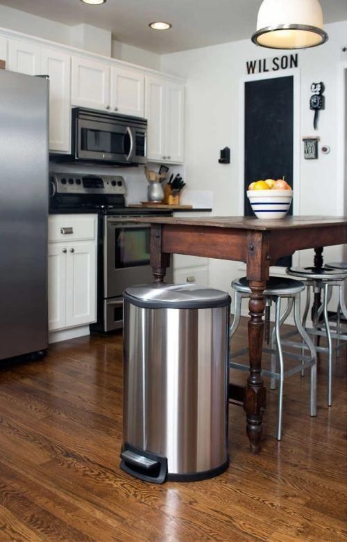 poubelle de cuisine automatique inox vintage