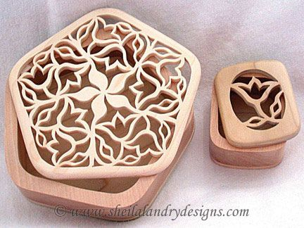 scroll saw patterns jewelry | STB02 - Tulip Trinket Boxes with Swivel Tops and Scrollsawn Lids