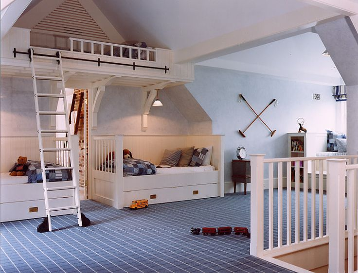 Bunk Bed attic in a Virginia farmhouse.  Like the white rail around the top of the staircase.