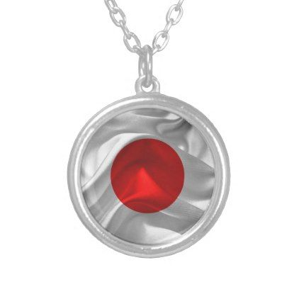 Satin flag of Japan Silver Plated Necklace - jewelry jewellery unique special diy gift present