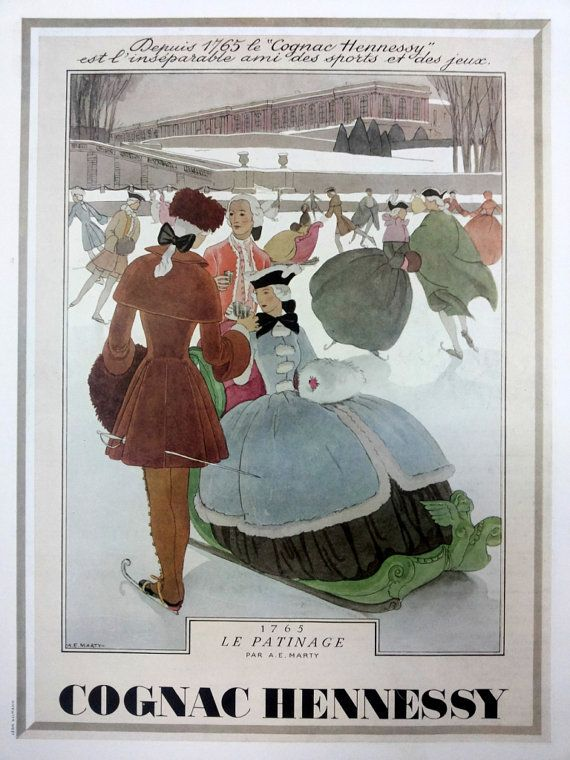 Cognac Hennessy Le Patinage, ice skating original art deco poster, vintage advertisement from the 30ies #poster #vintage