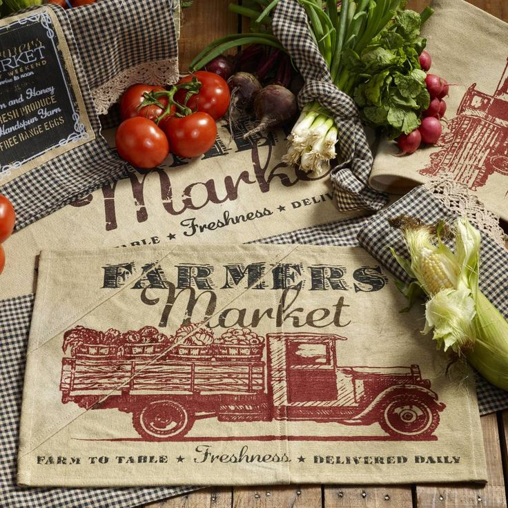 "Farmers Market Placemat features a wine and black printed design. Made of 100% Cotton. Machine wash; cold water; gentle cycle; hang dry. Measures 13""W x 19""L. #country #kitchen #farmhouse #placemat"
