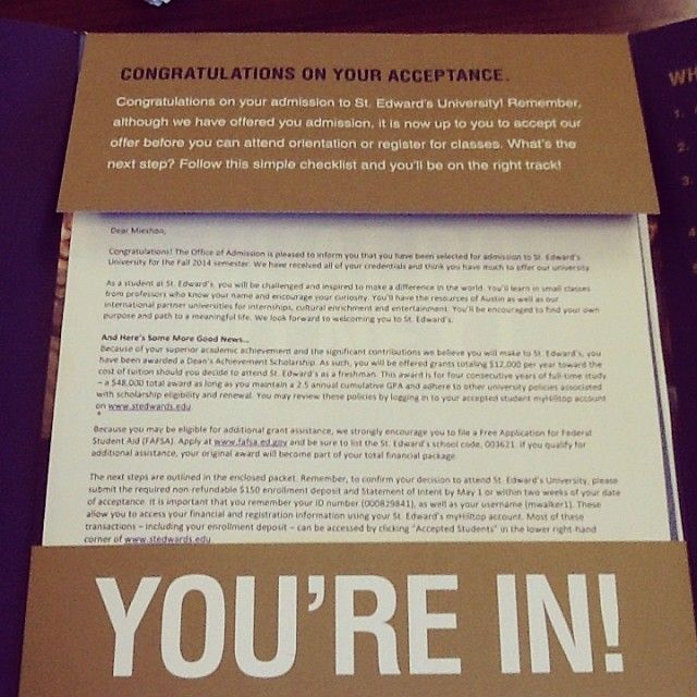 Best Acceptance Package Images On   Acceptance A