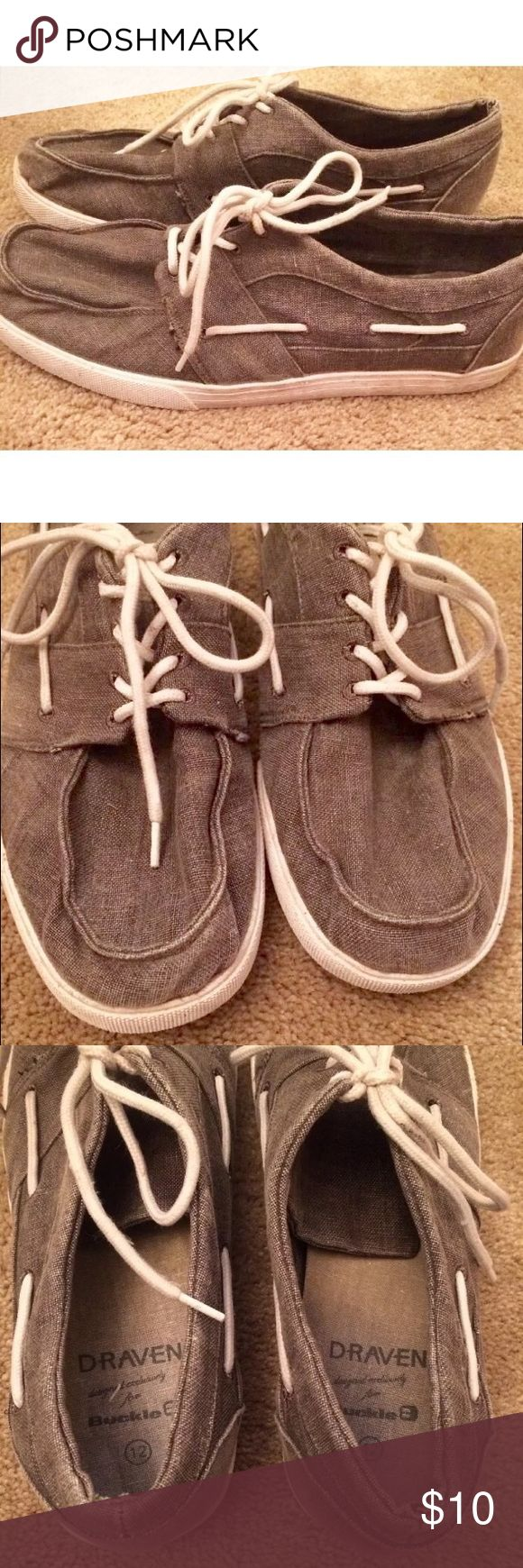 Men's Boat Shoes Size 12 Draven for Buckle EUC men's shoes by Draven designed exclusively for Buckle. Gray denim color. Size 12. No flaws. Soles just a little dirty. Buckle Shoes Sneakers