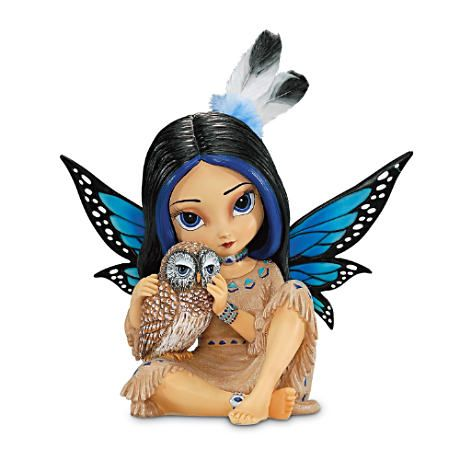 Moonheart, Spirit of Wisdom Figurine by Jasmine Becket (Griffith Mystical Fairy with Real Feathers)