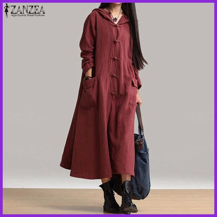 2017 Spring ZANZEA Women Casual Loose Mid-calf Dress Ladies Vintage V Neck Hooded Long Sleeve Solid Dresses Vestidos Oversized